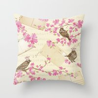 Love Letters - Cute Sparrows And Cherry Blossoms Illustration Throw Pillow