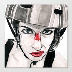 Battle Scarred Rollergirl Canvas Print