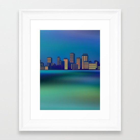 Seaside Cityscape Framed Art Print