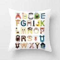 Muppet Alphabet Throw Pillow