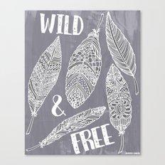Wild & Free Feathers. White & Grey Edition 2 Canvas Print