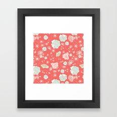 PEACH MINT FLOWERS Framed Art Print