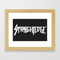 Straight Edge Metal Logo Framed Art Print