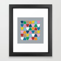 Up and Down Hearts on Grey Framed Art Print