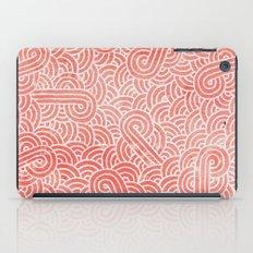 Peach echo and white swirls doodles iPad Case