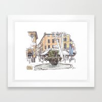 Fountain at Cours Mirabeau, Aix-en-Provence Framed Art Print