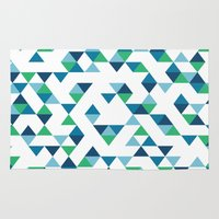 Triangles Blue and Green Rug