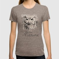 Owl (BornInNature) Womens Fitted Tee Tri-Coffee SMALL