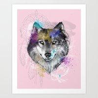 Sasha's Wolf Pink Art Print