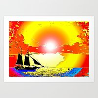 Sunset ship Art Print