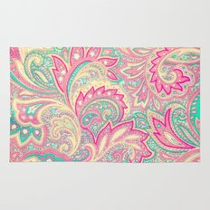 Pink Turquoise Girly Chic Floral Paisley Pattern Rug
