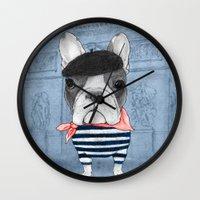 French Bulldog. (panoram… Wall Clock