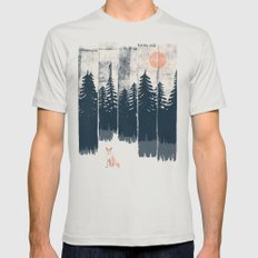 A Fox in the Wild... Mens Fitted Tee Silver SMALL