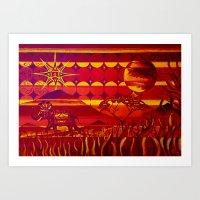 Magenta Sunset Safari Art Print