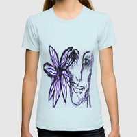 Flower Eyed Womens Fitted Tee Light Blue SMALL