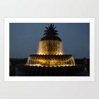 fountain lights Art Print