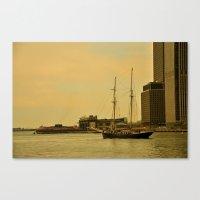 Vintage NY Harbor Tall Ship Canvas Print