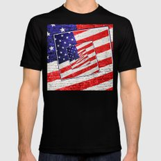 Patriotic American Flag Abstract SMALL Black Mens Fitted Tee