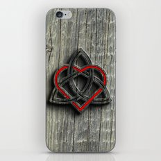 Celtic Knotwork Valentine Heart Wood Texture iPhone & iPod Skin