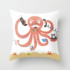 A busy Octopus works in an office Throw Pillow
