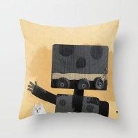 Happy Robot Happy Cat Throw Pillow