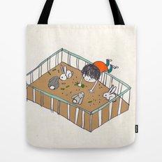feeding the bunnies Tote Bag
