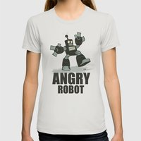 Angry Robot Womens Fitted Tee Silver SMALL