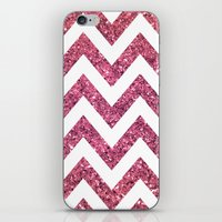 PINK GLITTER CHEVRON  iPhone & iPod Skin