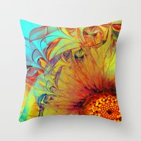Sunflower Abstract Throw Pillow
