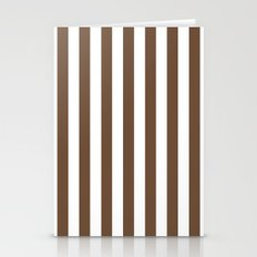 Vertical Stripes (Coffee/White) Stationery Cards