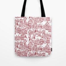 Doctor Who Toile de Jouy   'Walking Doodle'   Red Tote Bag