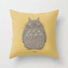 Yellow Totoro Throw Pillow
