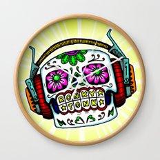 Sugar Skull with Headphones Zombie by RonkyTonk Wall Clock