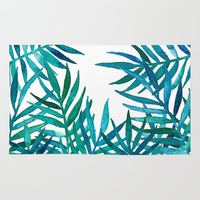 watercolor palm leaves on white rug by micklyn society6. Black Bedroom Furniture Sets. Home Design Ideas