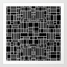 Map Lines Black Art Print