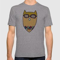 Owl hipster Mens Fitted Tee Athletic Grey SMALL