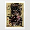 african illustration, people, feet and animals, exotic raster illustration Art Print