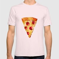 Pizza Mens Fitted Tee Light Pink SMALL