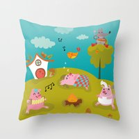 Three little PIG Throw Pillow