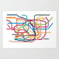 Tokyo Subway Map Art Print