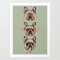 No Evil  Frenchie Art Print
