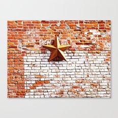 Gold Star on Brick Canvas Print