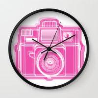 I Still Shoot Film Holga Logo - Pink Wall Clock