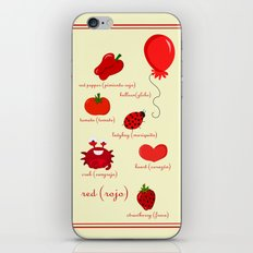 Colors: red (los colores: rojo) iPhone & iPod Skin