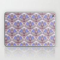 Art Deco Lotus Rising 2 - sage grey & purple pattern Laptop & iPad Skin