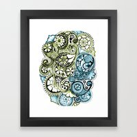 Blue Lime Paisley Framed Art Print