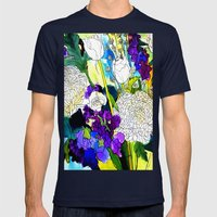 Forest Flowers 1 Mens Fitted Tee Navy SMALL
