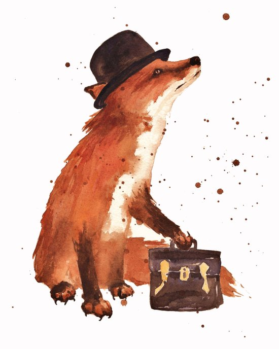 Fox in hat, office decor, gift for the boss, fox, fox painting, British fox Art Print