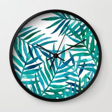 Watercolor Palm Leaves on White Wall Clock