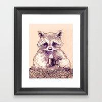 Caffeinated Raccoon Framed Art Print